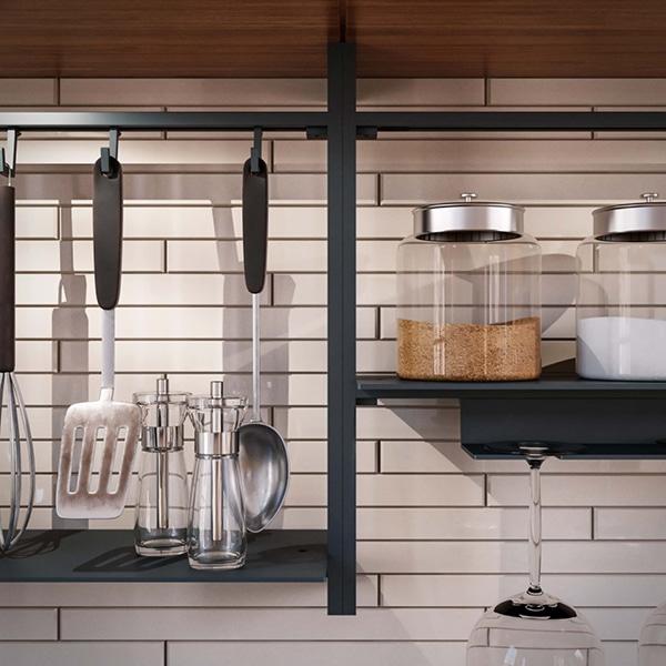 αξεσουάρ άνω πάγκου με μαύρο ράφι - Backsplash railing system with Shelf